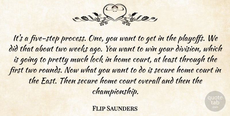 Flip Saunders Quote About Court, Home, Lock, Overall, Secure: Its A Five Step Process...