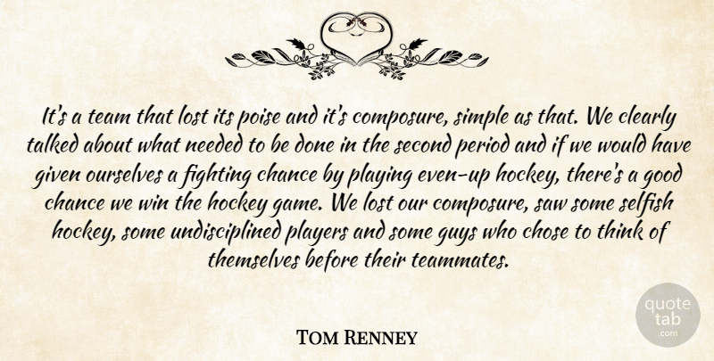 Tom Renney Quote About Chance, Chose, Clearly, Fighting, Given: Its A Team That Lost...