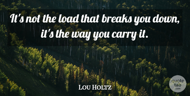 Lou Holtz Quote About Inspirational, Motivational Sports, Attitude: Its Not The Load That...