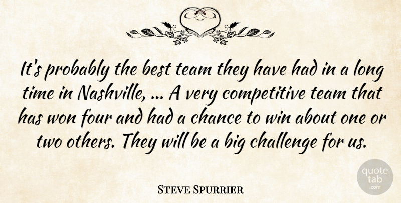 Steve Spurrier Quote About Best, Challenge, Chance, Four, Team: Its Probably The Best Team...