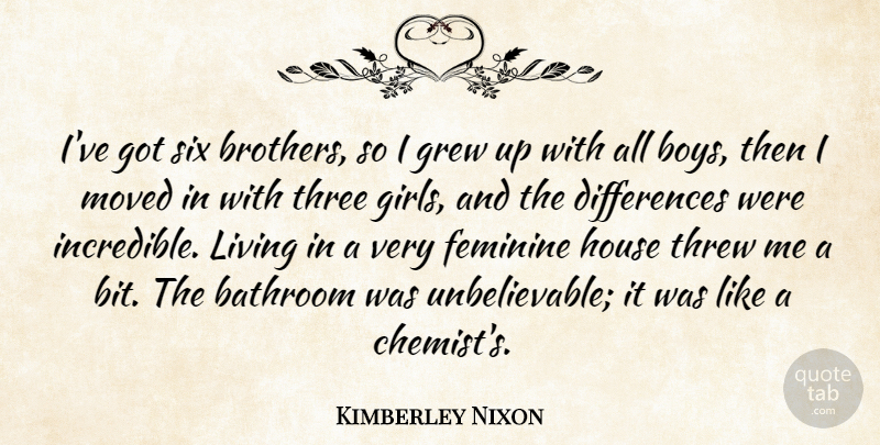 Kimberley Nixon Quote About Bathroom, Feminine, Grew, House, Living: Ive Got Six Brothers So...