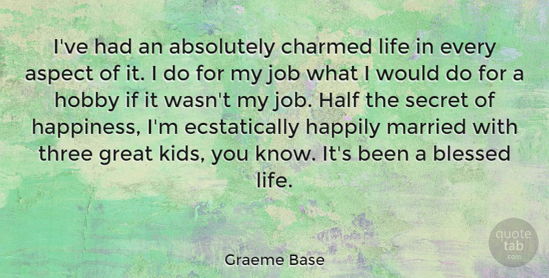 Graeme Base Quote About Absolutely, Aspect, Blessed, Charmed, Great: Ive Had An Absolutely Charmed...