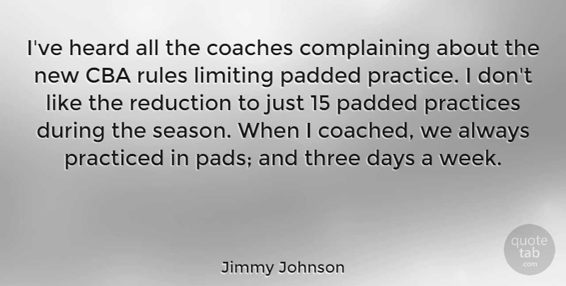 Jimmy Johnson Quote About Coaches, Days, Heard, Limiting, Practiced: Ive Heard All The Coaches...