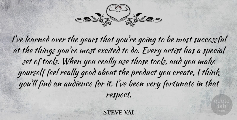 Steve Vai Quote About Successful, Thinking, Artist: Ive Learned Over The Years...