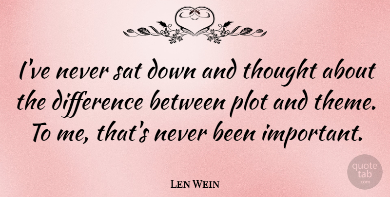 Len Wein Quote About Differences, Important, Down And: Ive Never Sat Down And...