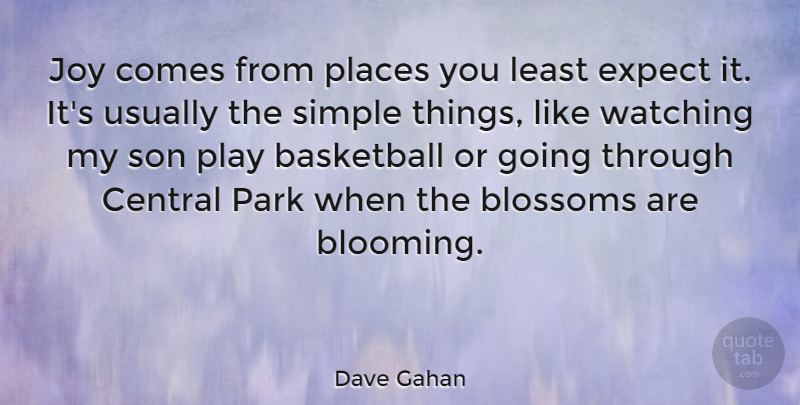 Dave Gahan Quote About Basketball, Blossoms, Central, Expect, Joy: Joy Comes From Places You...
