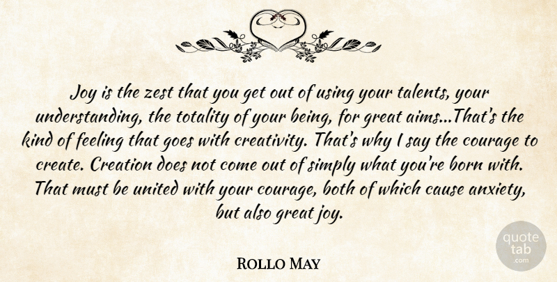 Rollo May Quote About Courage, Creativity, Using Your Talents: Joy Is The Zest That...