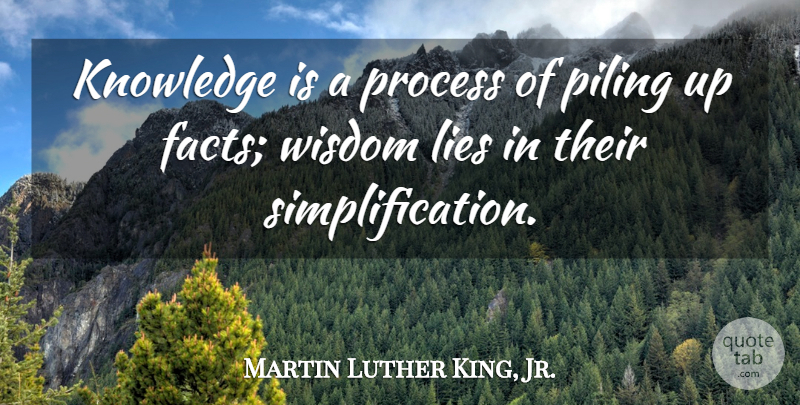 Martin Luther King, Jr. Quote About Education, Wisdom, Lying: Knowledge Is A Process Of...