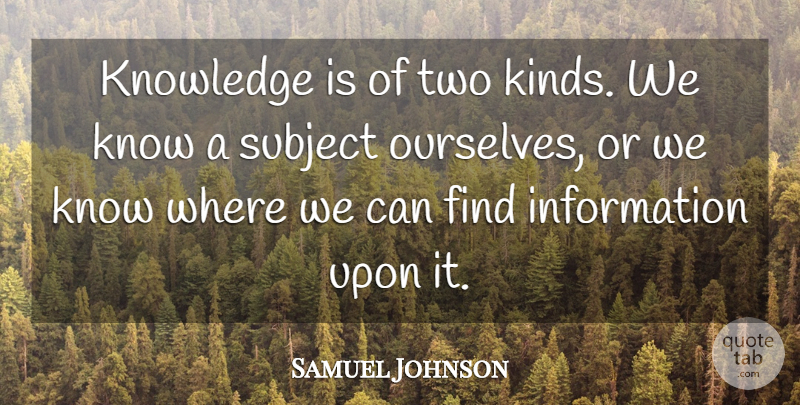 Samuel Johnson Quote About Inspirational, Teaching, Learning: Knowledge Is Of Two Kinds...