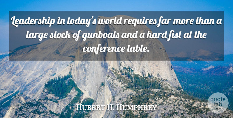 Hubert H. Humphrey Quote About Leadership, Fists, Tables: Leadership In Todays World Requires...
