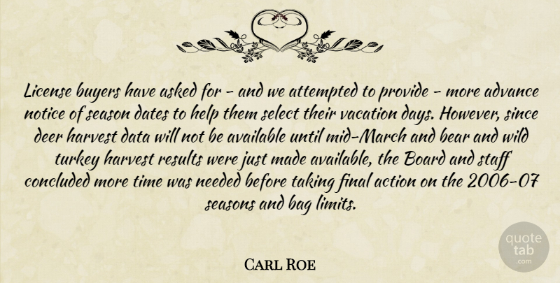 Carl Roe Quote About Action, Advance, Asked, Attempted, Available: License Buyers Have Asked For...
