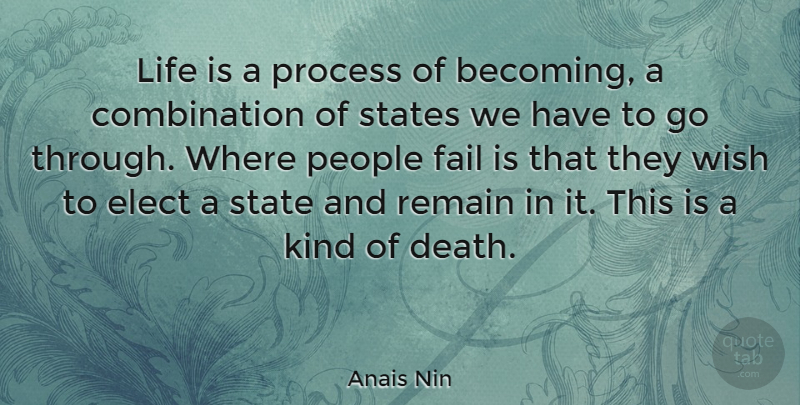 Anais Nin Quote About Life, Change, Failure: Life Is A Process Of...
