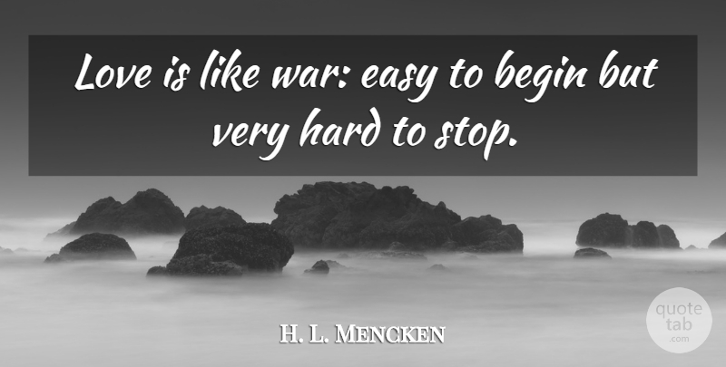 H. L. Mencken Quote About Love, Anniversary, War: Love Is Like War Easy...