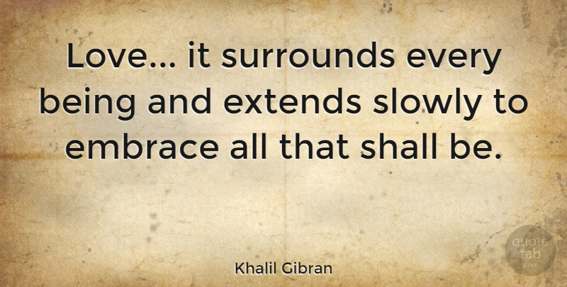Khalil Gibran Quote About Love, Spiritual, Embrace: Love It Surrounds Every Being...