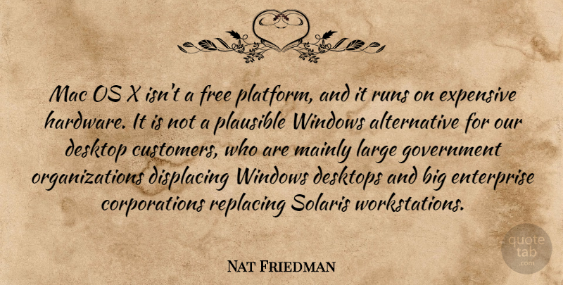 Nat Friedman Quote About Desktop, Enterprise, Expensive, Free, Government: Mac Os X Isnt A...