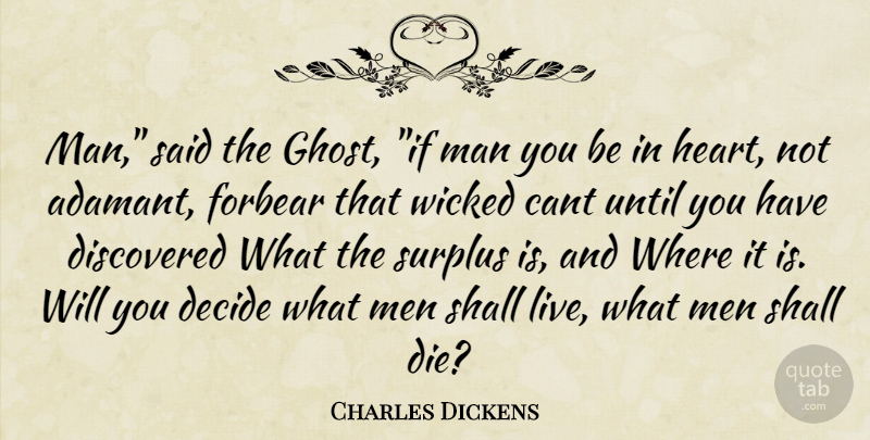 Charles Dickens Quote About Heart, Men, Wicked: Man Said The Ghost If...