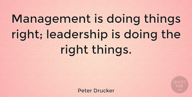 Peter Drucker Management Is Doing Things Right Leadership Is Doing