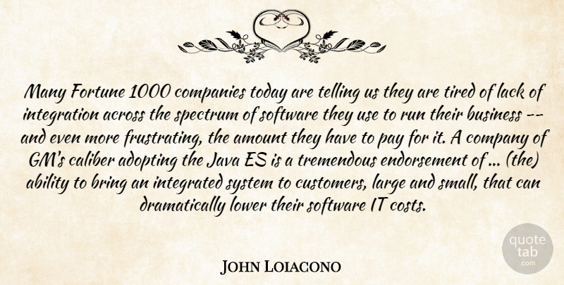 John Loiacono Quote About Ability, Across, Adopting, Amount, Bring: Many Fortune 1000 Companies Today...
