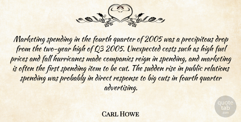 Carl Howe Quote About Companies, Costs, Cuts, Direct, Drop: Marketing Spending In The Fourth...