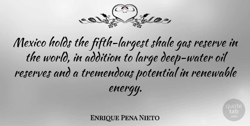 Enrique Pena Nieto Quote About Addition, Gas, Holds, Large, Mexico: Mexico Holds The Fifth Largest...