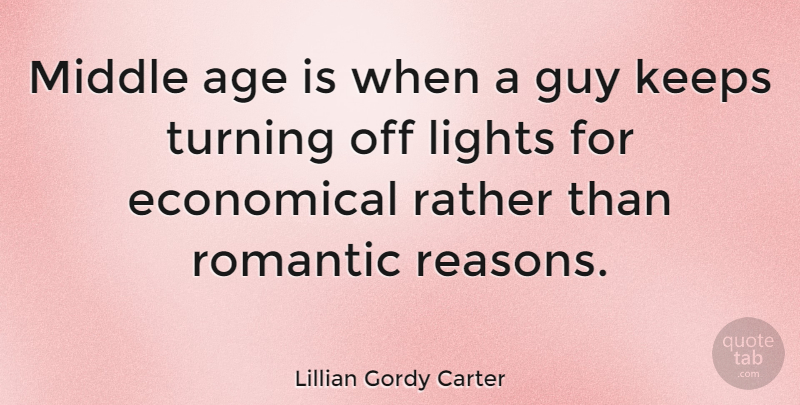 Lillian Gordy Carter Quote About Age, Age And Aging, American Celebrity, Economical, Guy: Middle Age Is When A...