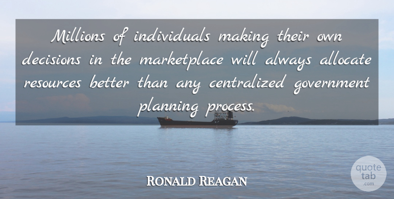 Ronald Reagan Quote About Government, Presidential, Decision: Millions Of Individuals Making Their...