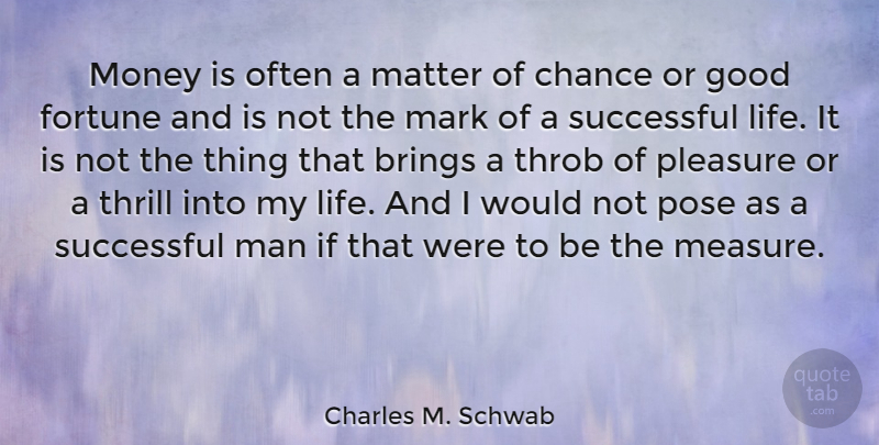 Charles M. Schwab Quote About Brings, Chance, Fortune, Good, Life: Money Is Often A Matter...