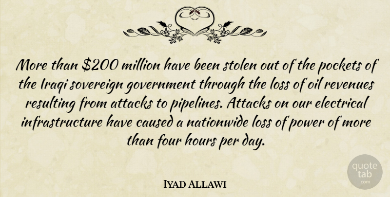 Iyad Allawi Quote About Attacks, Caused, Electrical, Four, Government: More Than 200 Million Have...
