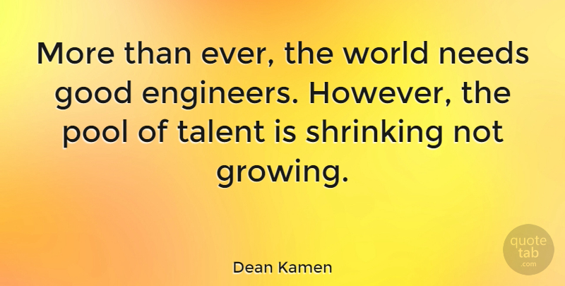 Dean Kamen Quote About Shrinking, World, Growing: More Than Ever The World...