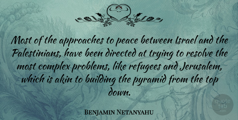 Benjamin Netanyahu Quote About Israel, Pyramids, Top Down: Most Of The Approaches To...