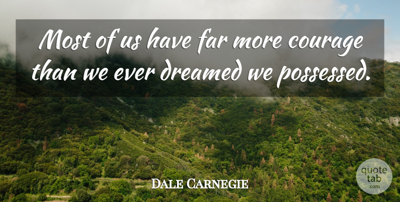 Dale Carnegie Quote About Inspirational, Success, Confidence: Most Of Us Have Far...