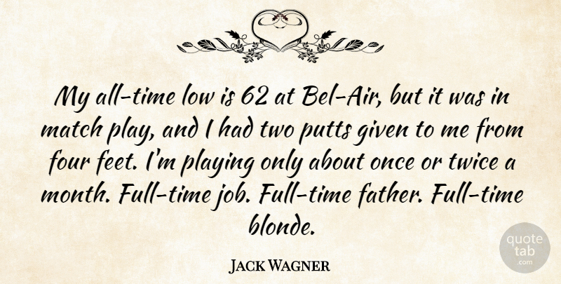 Jack Wagner Quote About Jobs, Father, Air: My All Time Low Is...