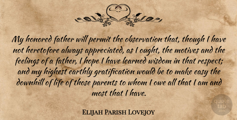 Elijah Parish Lovejoy Quote About Downhill, Earthly, Easy, Father, Feelings: My Honored Father Will Permit...