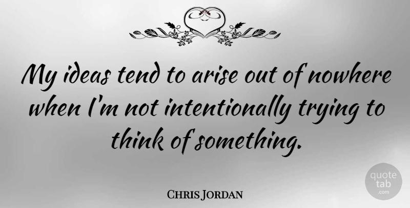 Chris Jordan Quote About Tend, Trying: My Ideas Tend To Arise...
