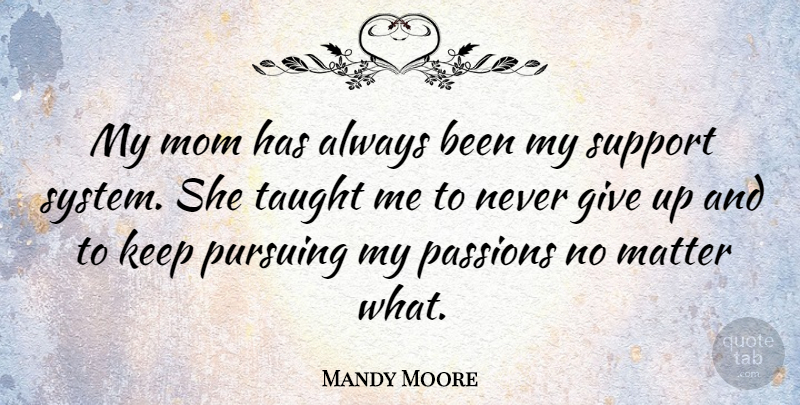 Mandy Moore Quote About Mom, Giving Up, Passion: My Mom Has Always Been...