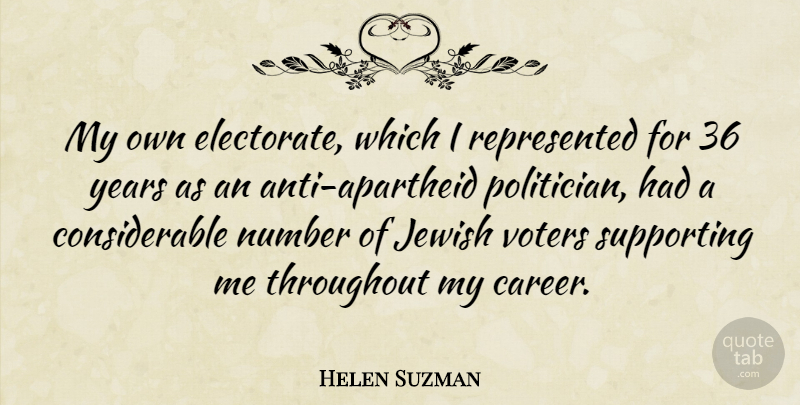 Helen Suzman Quote About Years, Careers, Numbers: My Own Electorate Which I...