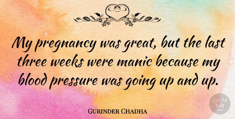 Gurinder Chadha Quote About Great, Last, Manic, Pregnancy, Three: My Pregnancy Was Great But...