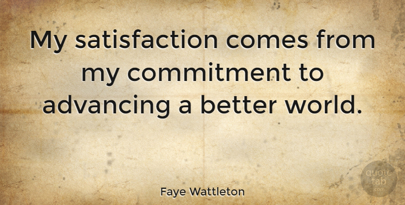 Faye Wattleton Quote About Commitment, Army, World: My Satisfaction Comes From My...