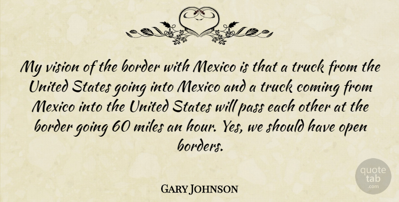 Gary Johnson Quote About Border, Coming, Mexico, Miles, Pass: My Vision Of The Border...