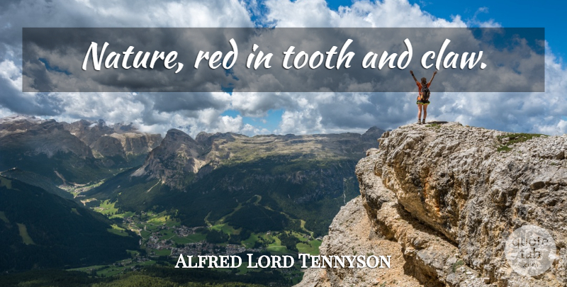Alfred Lord Tennyson Quote About Nature, Red, Teeth: Nature Red In Tooth And...