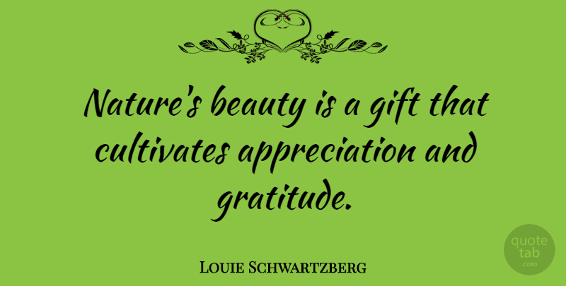 Louie Schwartzberg Quote About Appreciation, Beauty, Cultivates, Gift, Nature: Natures Beauty Is A Gift...