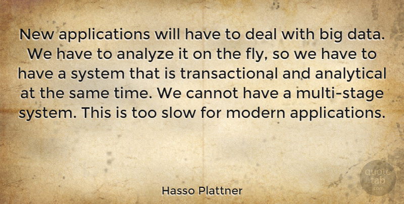 Hasso Plattner Quote About Data, Modern, Stage: New Applications Will Have To...