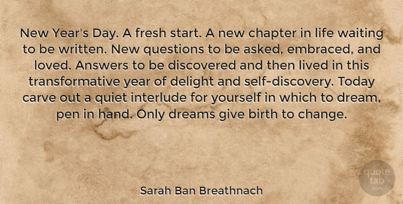 sarah ban breathnach quote about dream new year discovery new years day a