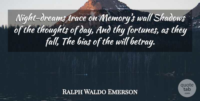 Ralph Waldo Emerson Quote About Dream, Memories, Wall: Night Dreams Trace On Memorys...