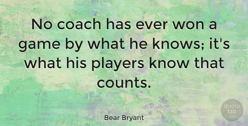 Bear Bryant Quote About Player, Games, Coaching: No Coach Has Ever Won...