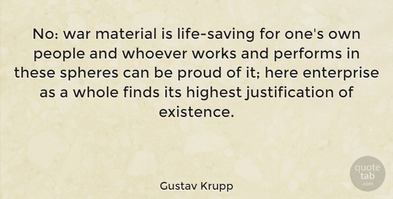 Gustav Krupp No War Material Is Life Saving For Ones Own People