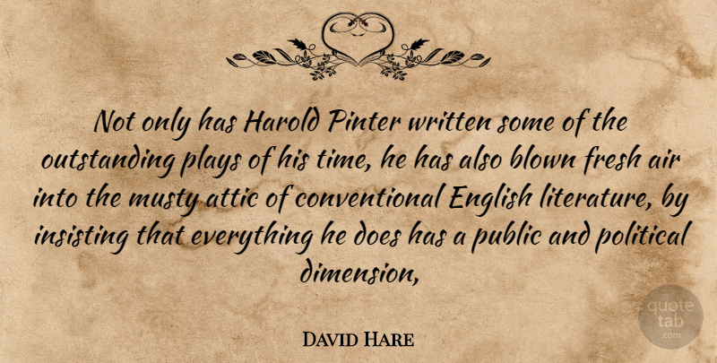 David Hare Quote About Air, Attic, Blown, English, Fresh: Not Only Has Harold Pinter...