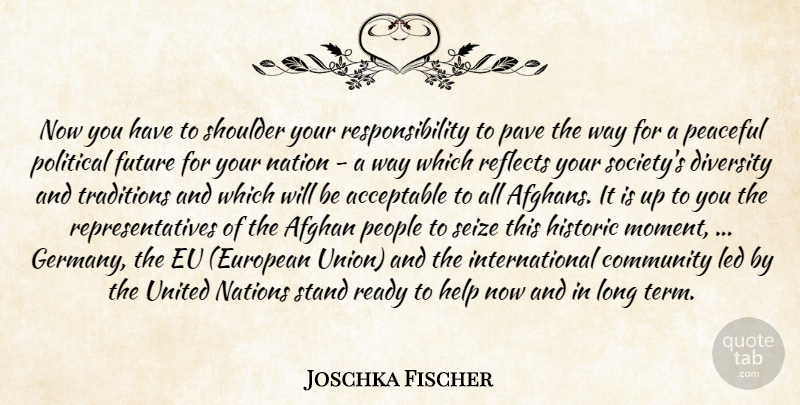 Joschka Fischer Quote About Acceptable, Afghan, Community, Diversity, Eu: Now You Have To Shoulder...