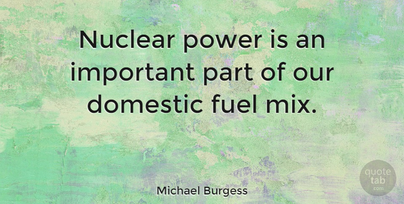 Michael Burgess Quote About Domestic, Power: Nuclear Power Is An Important...