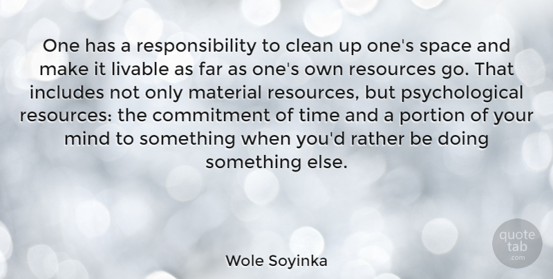 Wole Soyinka Quote About Clean, Far, Includes, Livable, Material: One Has A Responsibility To...